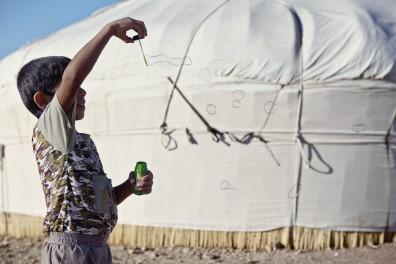 Bubbles in the desert, Uzbekistan