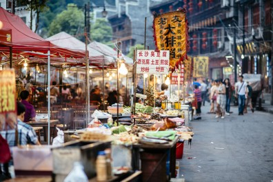 Street stalls at the Fenghuang Night Market