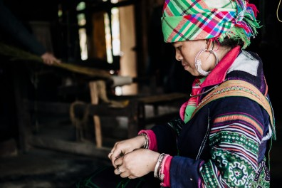Hmong weaving in Sapa Vietnam
